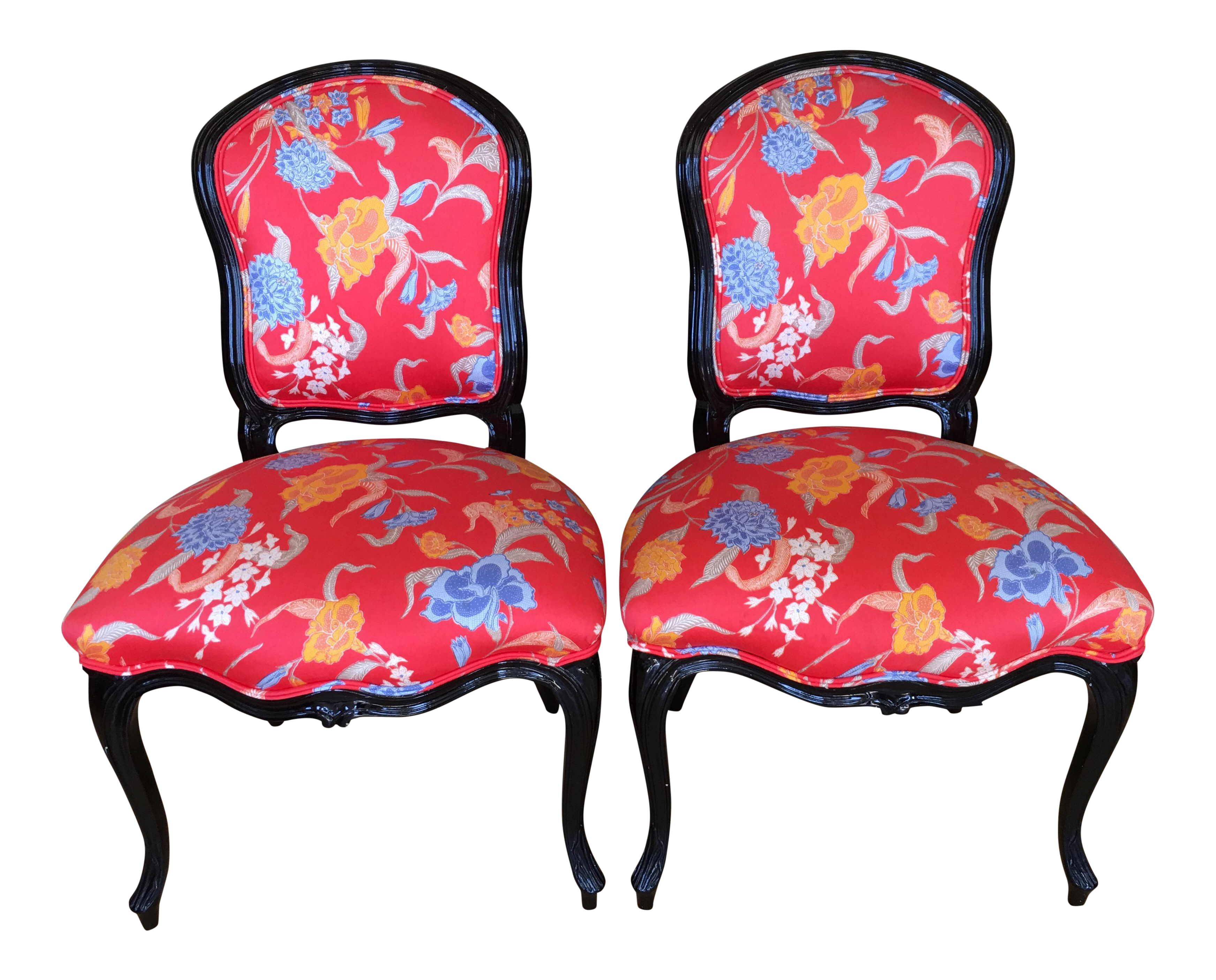 black lacquer louis xv style chairs a pair