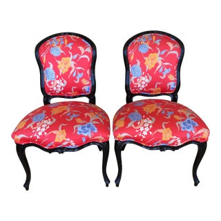 Pair of Black Lacquer Louis XV Style Chairs w Manuel Canovas Fabric