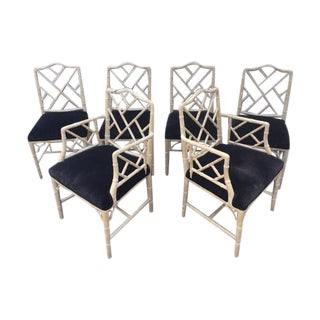 Faux Bamboo Chinoiserie Dining Chairs - 6