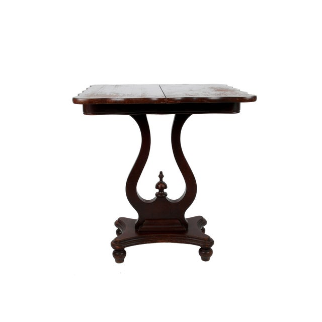 Vintage Flip-Top & Harp Base Side Table - Image 1 of 8