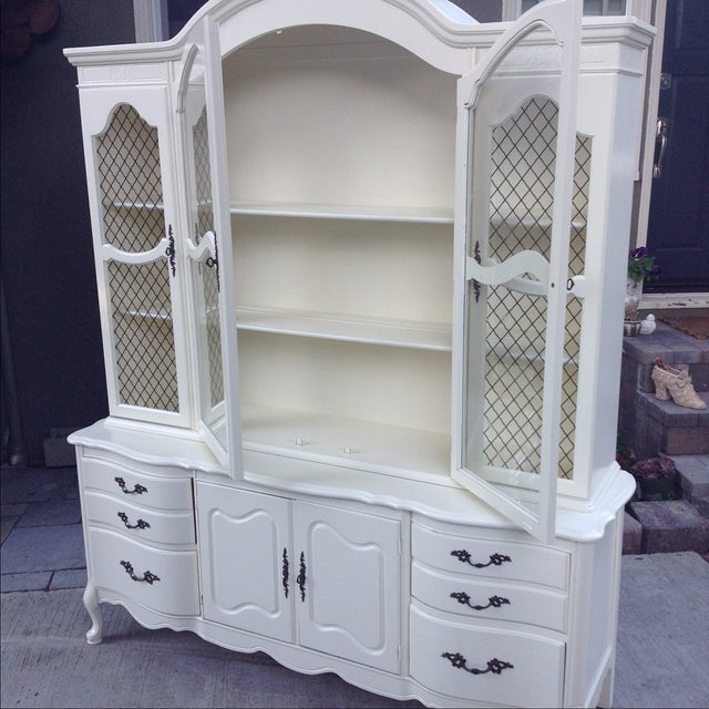 Image of Vintage 1950s French Provincial China Cabinet