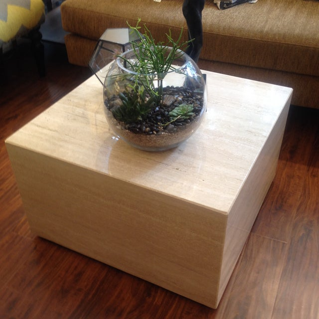 Vintage Travertine Cube Table - Image 5 of 7