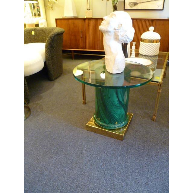 Sleek Modern Classic Malachite Column Side Table - Image 8 of 8
