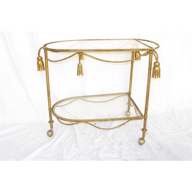 Hollywood Regency Gold Leaf Cocktail Cart - Image 2 of 7