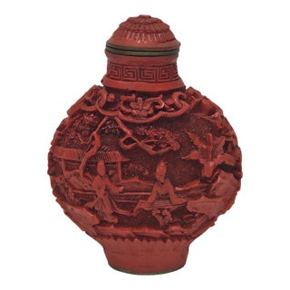 Late 1800s Crimson Cinnabar Bottle
