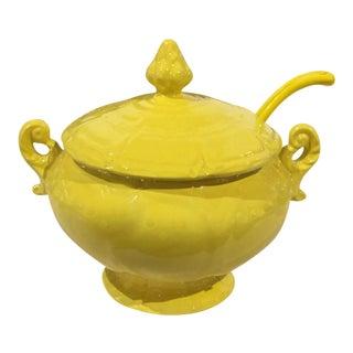 Mid-Century Yellow Lidded Tureen with Spoon