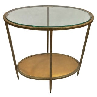 Metal Oval Side End Table With Glass Top