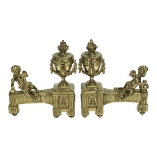 Exceptional Pair of Gilt Bronze Chenets