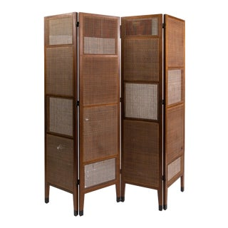 Very Rare 1950's Walnut and Cane Screen by Edward Wormley