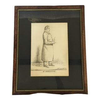 "Vintage ""Mr. Hobhouse"" Male Dandy Portrait Lithograph"
