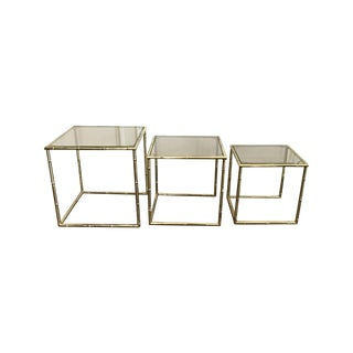 Brass Bamboo & Smoked Glass Nesting Tables