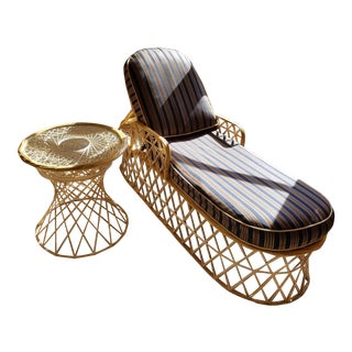 Vintage Russell Woodard Style Mid-Century Modern Fiberglass Web Spun Chaise & End Table Set
