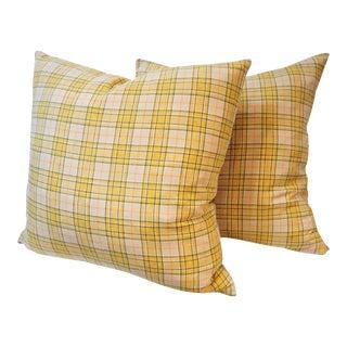 Pendleton Yellow Plaid Blanket Pillows - Pair