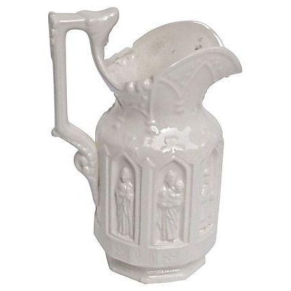 Image of Antique Ceramic Neo-Gothic Style Pitcher
