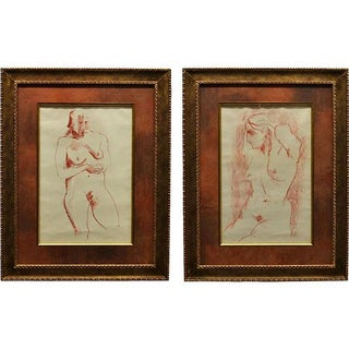 Framed Nude Drawings - A Pair