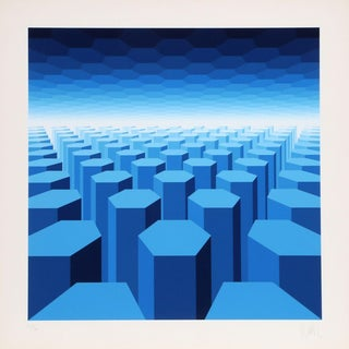 """Jean-Pierre Vasarely """"50 Shades of Blue"""" Serigraph"""