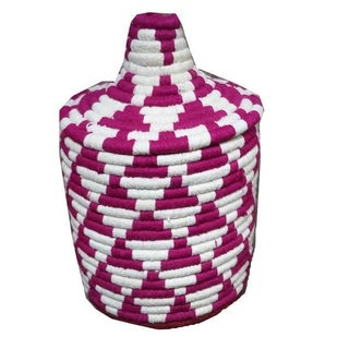 Moroccan Pink & White Woven Basket
