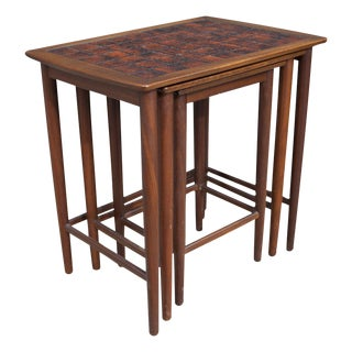 Danish Nesting Tile Top Tables - Set of 3