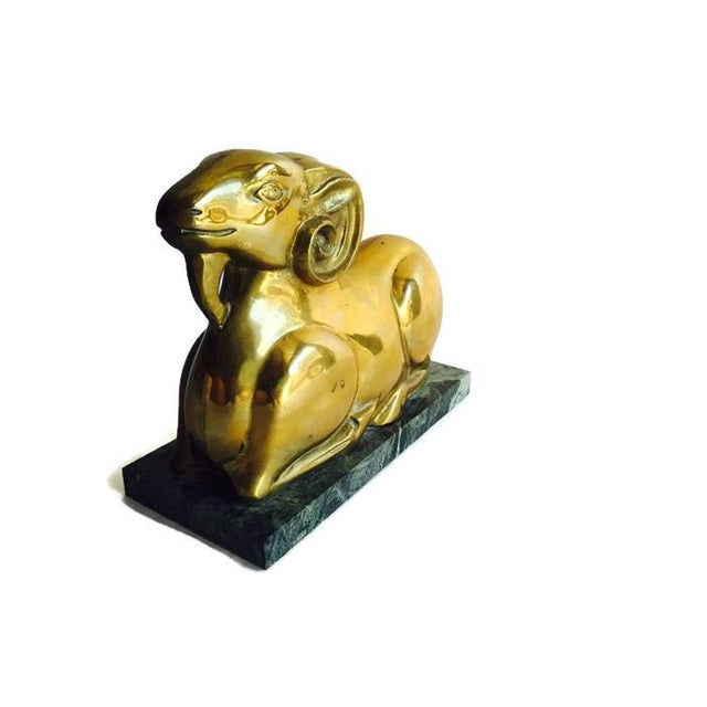 Image of Vintage 1970s Brass Ram Statue