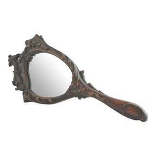 Antique Victorian Asian-Inspired Wood Hand MIrror