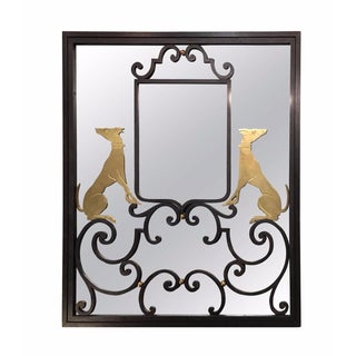 Art Deco Iron Mirror With Brass Dogs