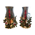 Image of Vintage Tole Candle Holders W/ Hurricanes - Pair