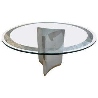 Mastercraft Round Dining Table in Polished Steel, Brass and Etched Glass