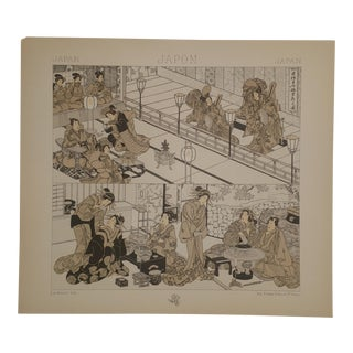 1888 Scenes of Family Life in Japan Vintage Color Lithograph