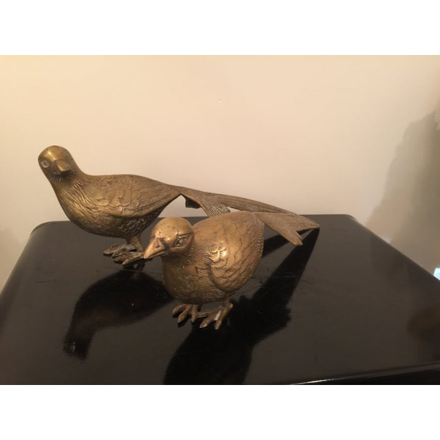 Image of 1960s Solid Brass Pheasants Oversize - Pair