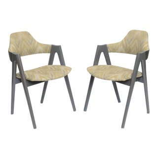 Scissor Design Vintage Sidechairs in Zigzag Fabric