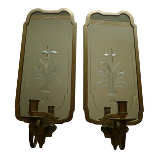 Elephant Motif Mirrored Wall Sconces - A Pair