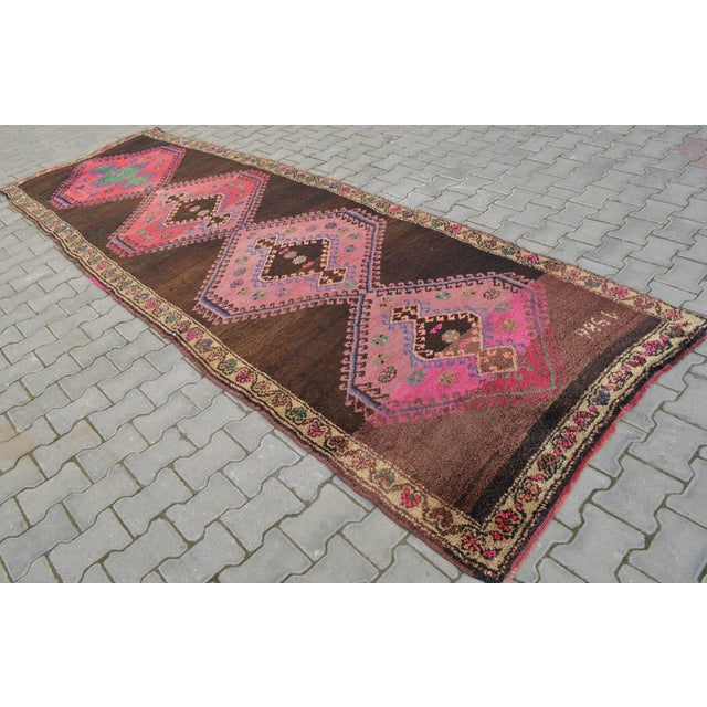Hand Knotted Turkish Runner Rug - 4′6″ × 13′3″ - Image 2 of 11