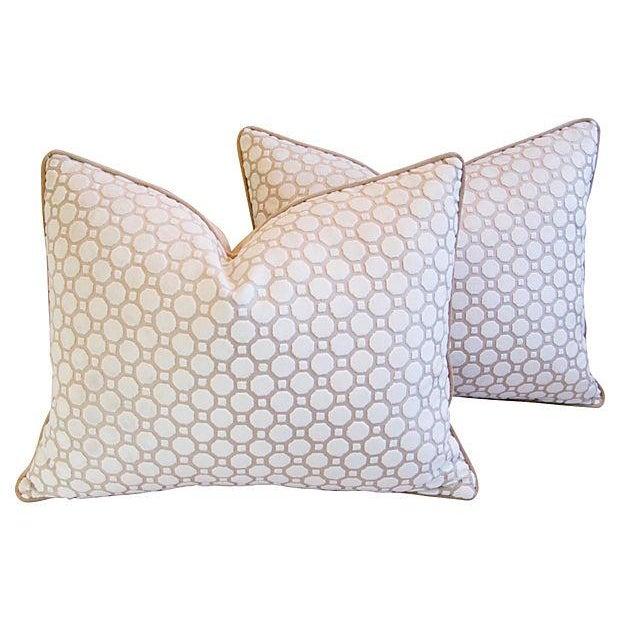 White Velvet Geometric Pillows- A Pair - Image 1 of 7