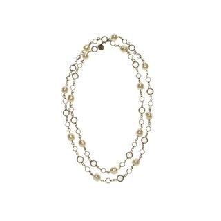 Chanel Vintage Faux Pearl Chicklet Necklace