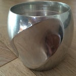 Image of Contemporary Silver Candle Holder & Red Candle Set