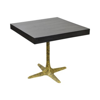 Mid Century Modern Square Top Faux Painted Metal Pedestal Café Table