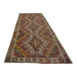 "Antique Turkish Kilim Hand Woven Large Runner Rug - 5'5"" X 13'7"""