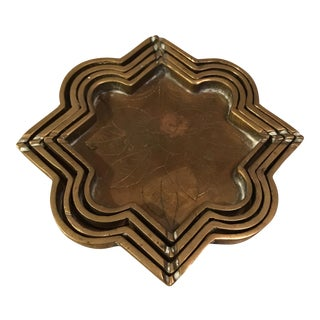 Small Brass Decorative Etched Nesting Trays - Set of 4