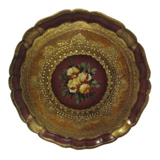 Cranberry Red & Gold Italian Florentine Tray