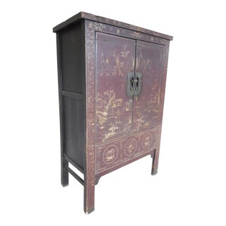 Asian Style 2 Door Armoire Storage Cabinet Chinoiserie Decorated