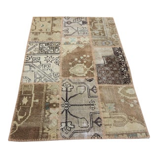 Turkish Vintage Overdyed Patchwork Oushak Rug - 3′4″ × 5′3″
