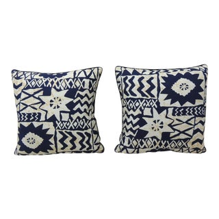 Vintage Pair of Blue and White Graphic Barkcloth Decorative Pillows.