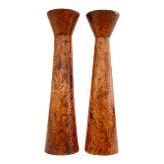 Postmodern Style Burl Wood Candleholders - a Pair