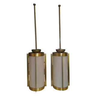 Brass and White Mid-Century Pendants - Pair