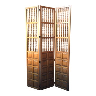 Mid-Century Solid Wood Spindled 3 Panel Screen