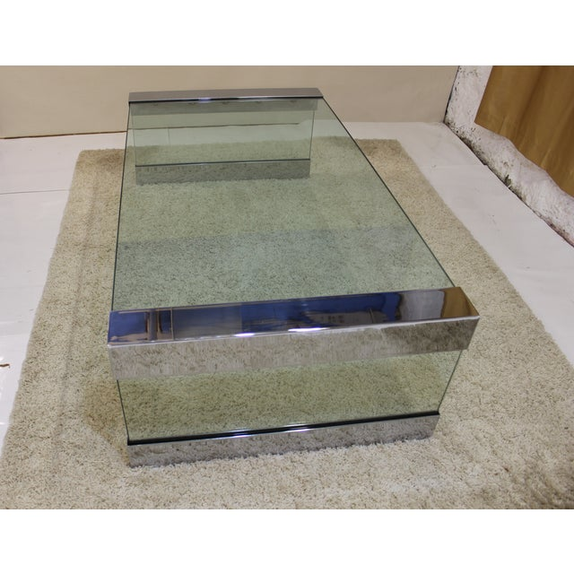 Pace Chrome & Glass Coffee Table - Image 6 of 7