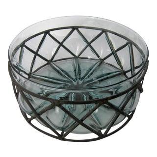 Caged Aqua Glass Bowl