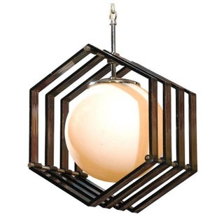 Mid-Century Hexagonal Acrylic and White Globe Pendant