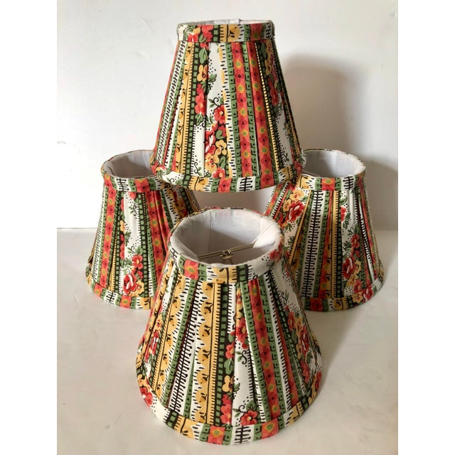 Custom Striped Floral Chandelier Shades - Set of 4 - Image 5 of 5