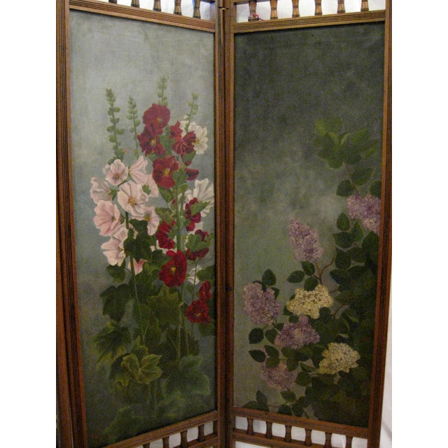 Painted Floral 3-Panel Victorian Screen - Image 2 of 6